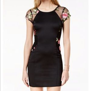 BCX Mesh Floral Embroidered Bodycon Black Dress